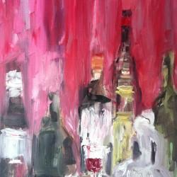 Stilleben i rött, 2013, olja